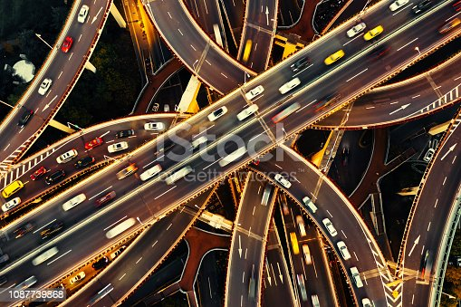 istock Aerial view of Shanghai Highway at Night, China 1087739868