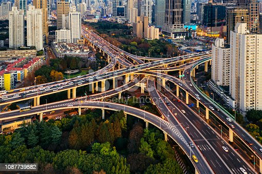 istock Aerial view of Shanghai Highway at Night, China 1087739882