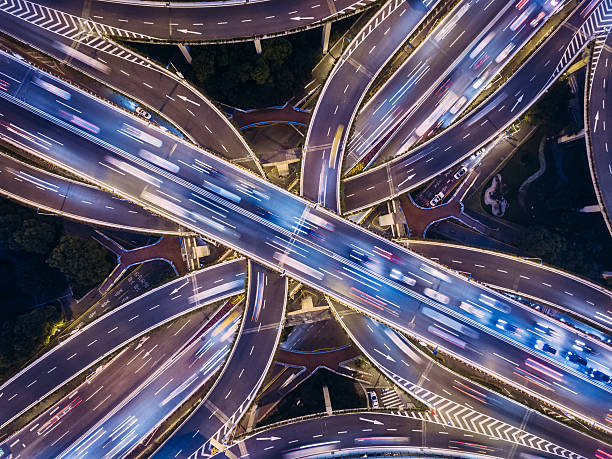 Aerial view of Shanghai Highway at Night Aerial view of Shanghai Highway at Night long exposure stock pictures, royalty-free photos & images