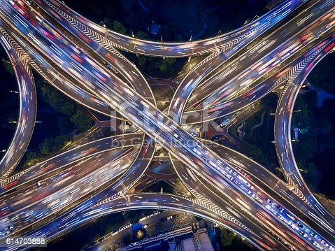 istock Aerial view of Shanghai Highway at Night 614703888
