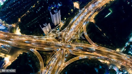 istock Aerial view of Shanghai Highway at Night 681874032
