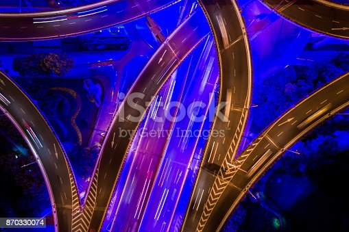 istock Aerial view of Shanghai Highway at Night 870330074
