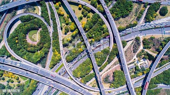 695675608 istock photo Aerial view of Shanghai Highway 681873878