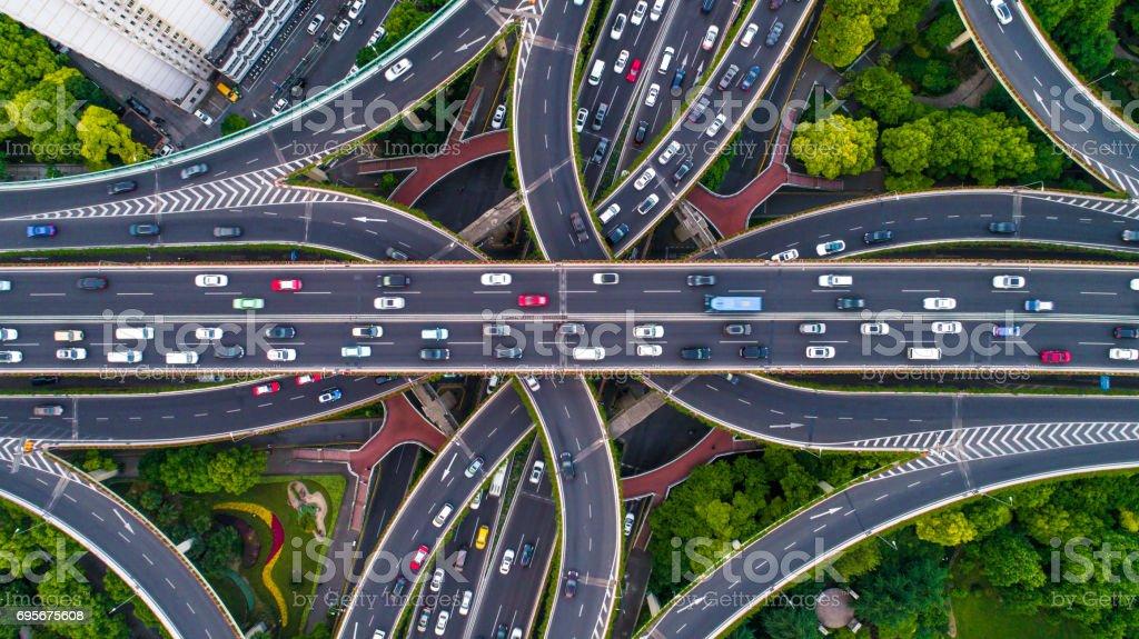 상하이 고속도로의 항공 보기 - 로열티 프리 0명 스톡 사진