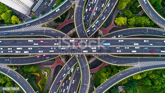 istock Aerial view of Shanghai Highway 695675608