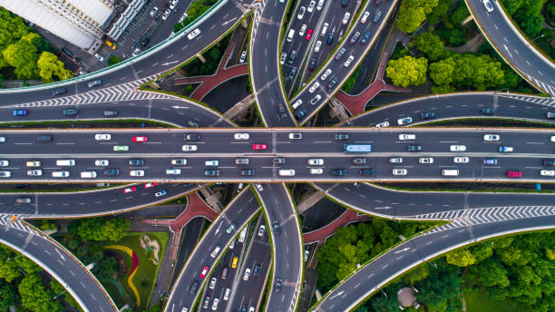 aerial view of shanghai highway - high angle view stock pictures, royalty-free photos & images