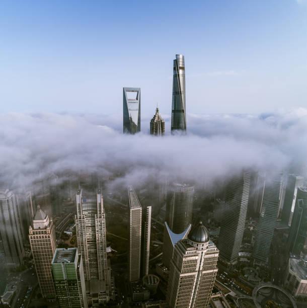 Luftaufnahme von Shanghai denkmalgeschützten Gebäude im Nebel – Foto