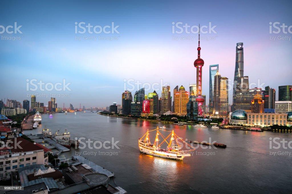 Aerial View of Shanghai Landmarks at Sunset stock photo