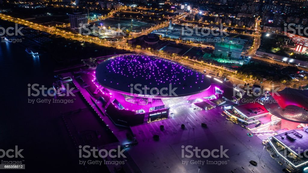 Aerial view of Shanghai Mercedes-Benz Arena at night stock photo