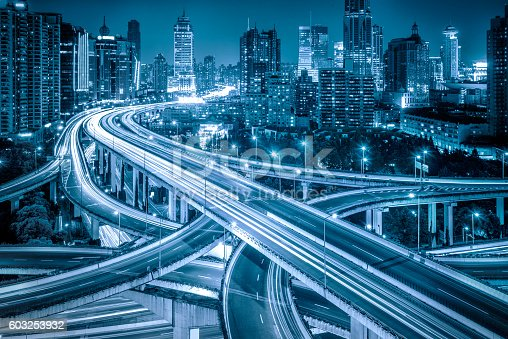 istock Aerial View of Shanghai overpass at Night 603253932
