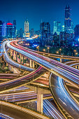Aerial View of Shanghai overpass at Night in China.