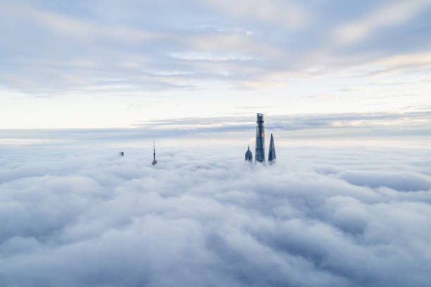Aerial View Of Shanghai Aerial View Of Shanghai jin mao tower stock pictures, royalty-free photos & images