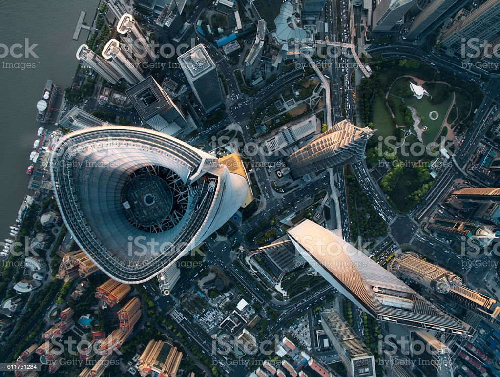 Aerial View Of Shanghai royalty-free stock photo