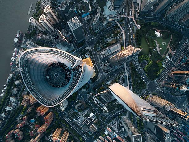 aerial view of shanghai - shanghaï photos et images de collection