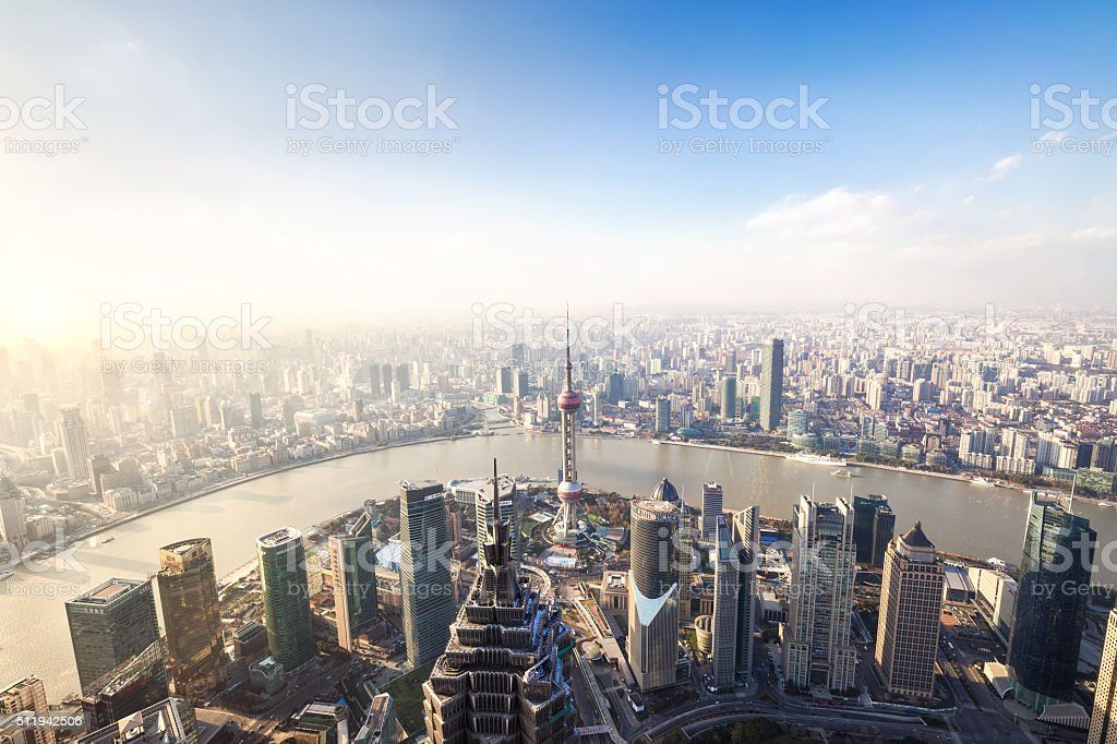 Aerial View of Shanghai Skyline and Cityscape stock photo