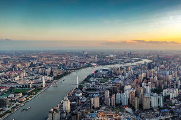 Aerial view of Shanghai skyline Aerial view of Shanghai skyline huangpu river stock pictures, royalty-free photos & images