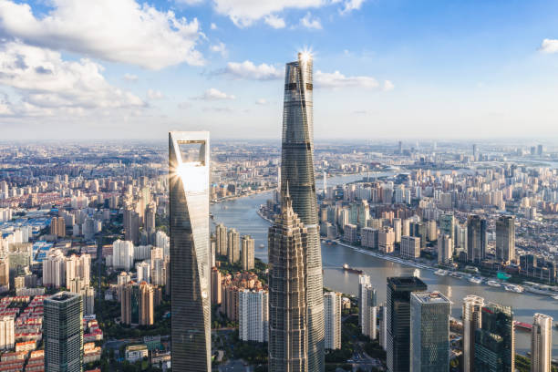 Aerial view of Shanghai skyscrapers drone point aerial view of Shanghai tower, SWFC&Jinmao tower. huangpu river stock pictures, royalty-free photos & images