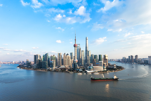 Aerial View of Shanghai urban scene