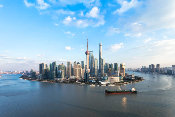 Aerial View of Shanghai urban scene stock photo
