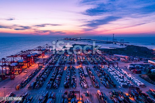 View of Shanghai Yangshan deepwater port at sunset.