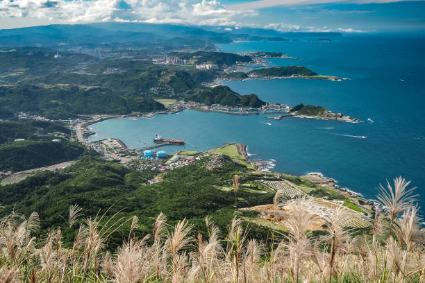 Aerial view of  Shen-ao Harbor from top of Keelung Mountain. (Jiufen, Taiwan) stock photo