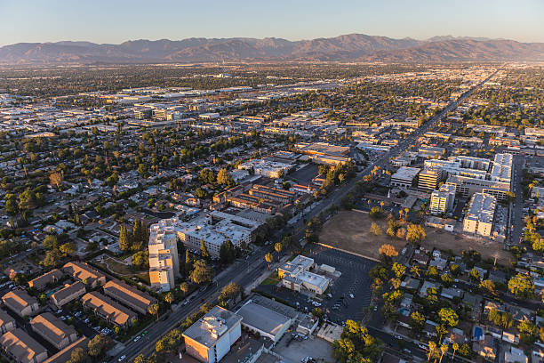 Aerial View of Sherman Way in the San Fernando Valley stock photo