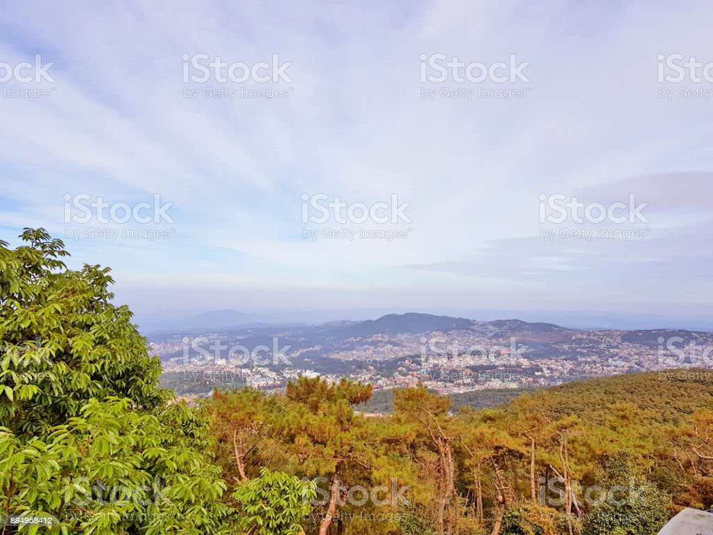 Aerial view of Shillong town stock photo
