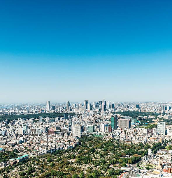 aerial view of shinjuku, tokyo - shinjuku ward stock photos and pictures