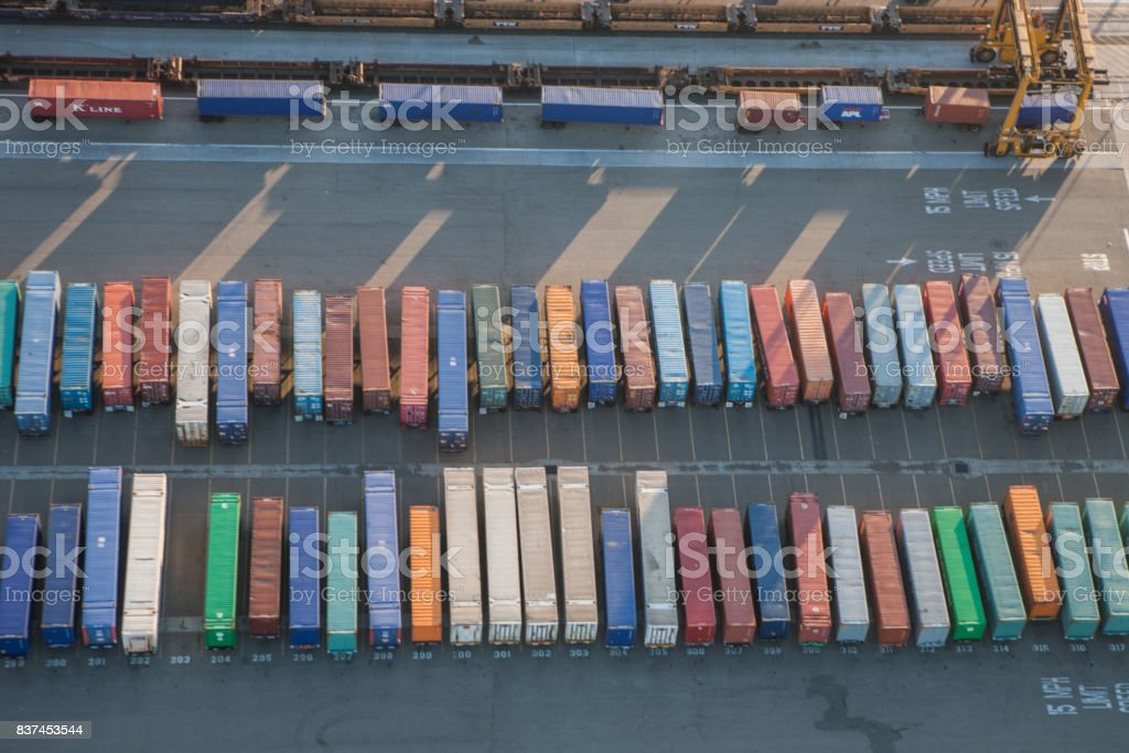 Aerial View Of Shipping Containers At Oakland ...