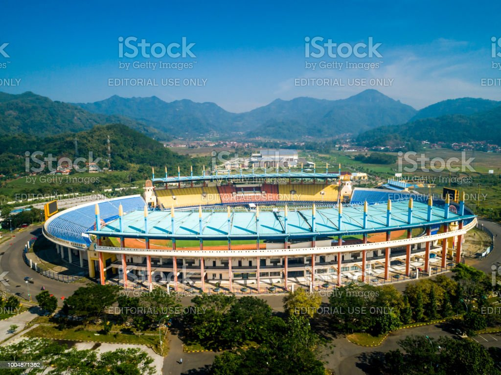 Soreang Bandung, West Java / Indonesia - June 28, 2018: Aerial View of Si Jalak Harupat  Football / Soccer Stadium in the Morning with Blue Sky, Official Venue Asian Games 2018 stock photo