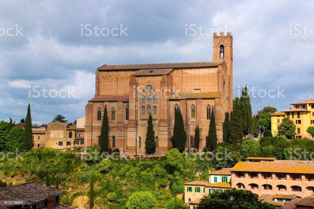 Aerial view of Siena and Basilica of San Domenico (Basilica Cateriniana) is basilica church in Siena stock photo