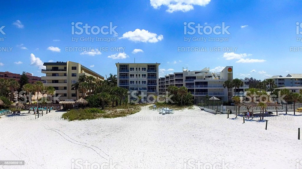 Aerial view of Siesta Key beachfront apartments in Sarasota, FL stock photo