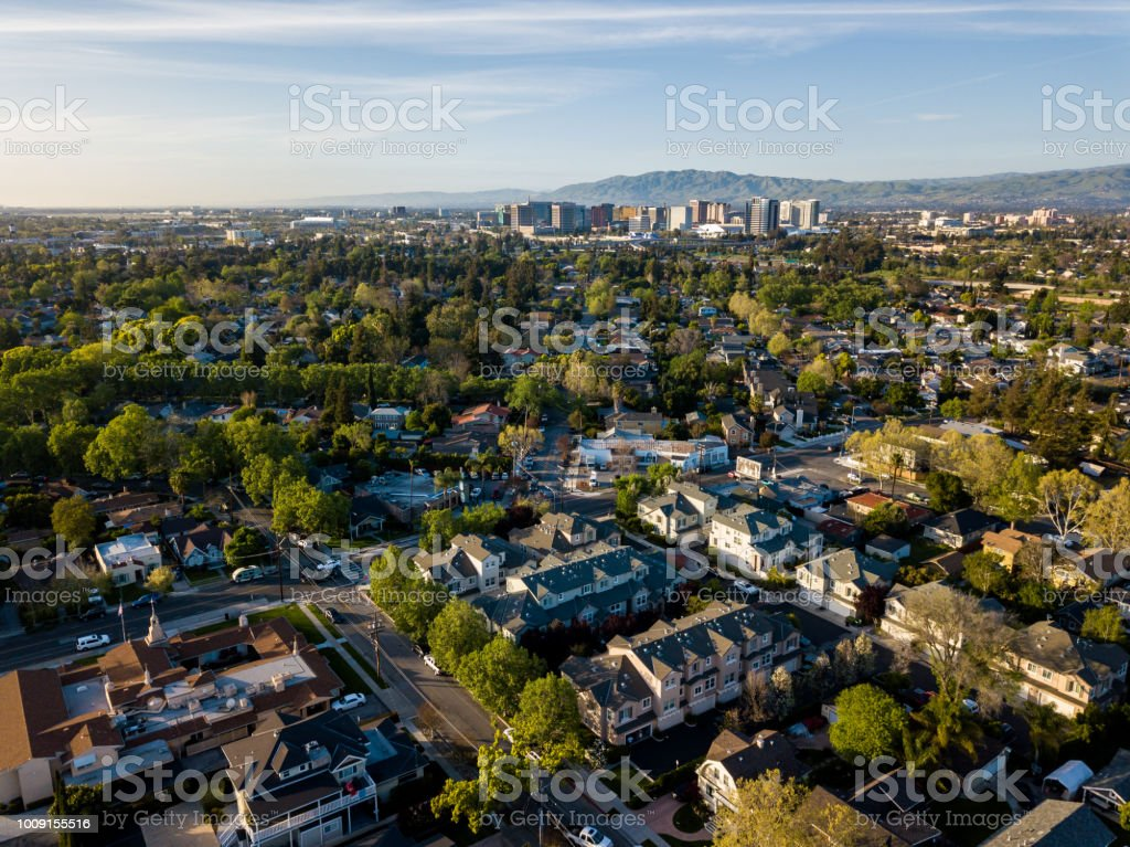 Aerial view of Silicon Valley in California stock photo