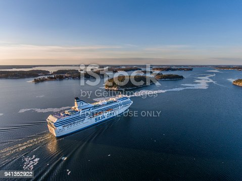 Aerial view of Silja Symphony cruise ship in Stockholm archipelago