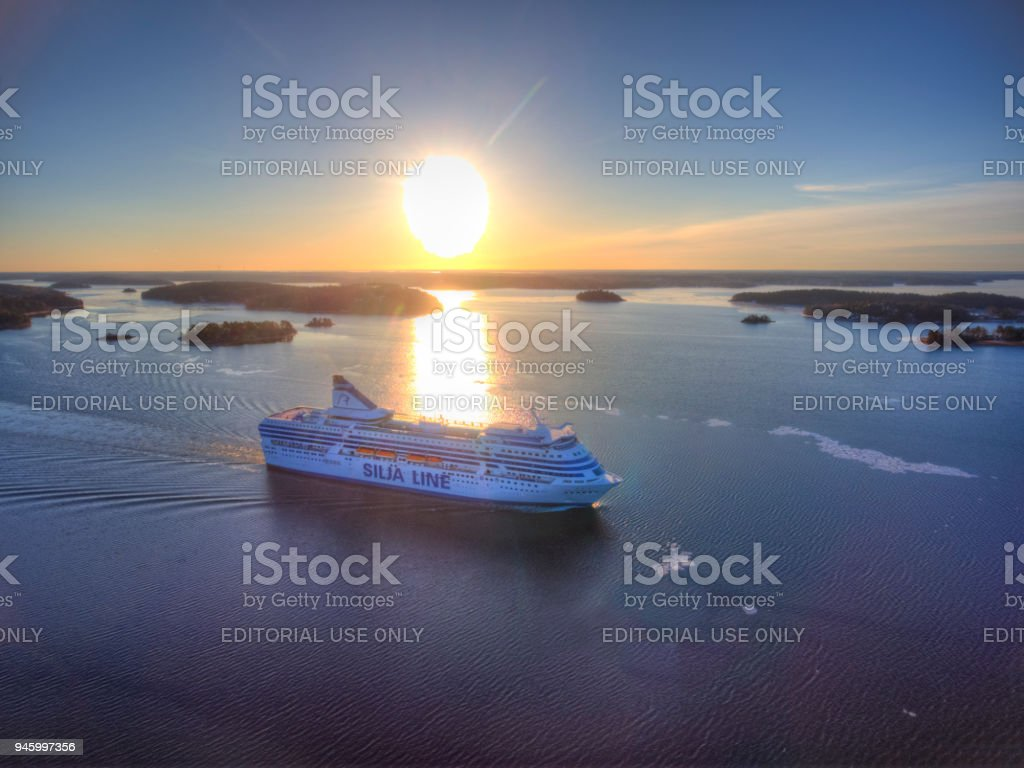 Aerial view of Silja Symphony cruise ship stock photo