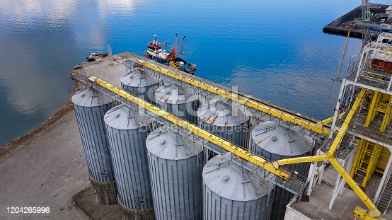 Aerial view of Liquid chemical tank terminal, Storage of liquid chemical and petrochemical products tanks.
