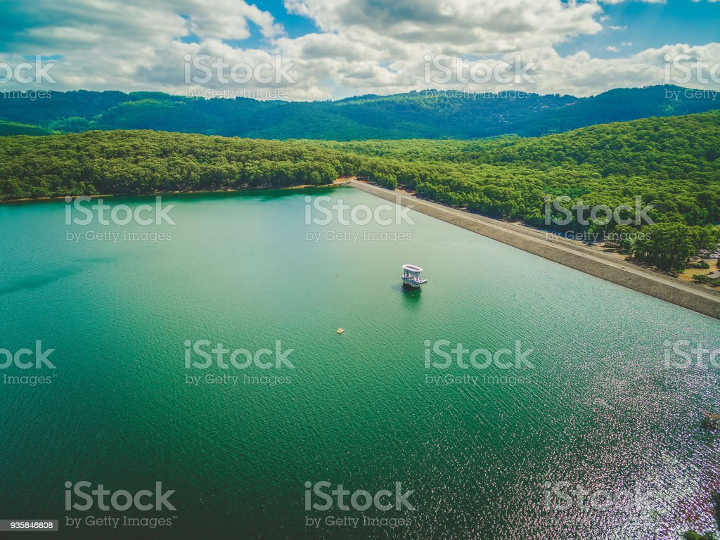 Aerial view of Silvan Reservoir lake and Dam in Melbourne, Australia. stock photo