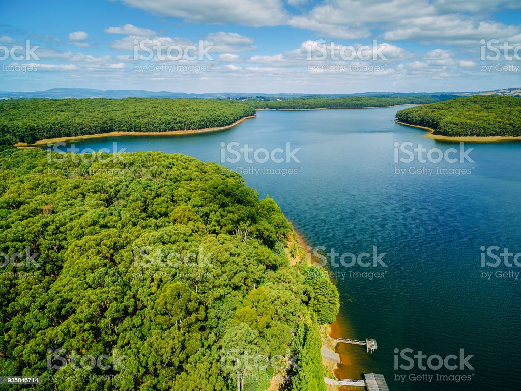 Aerial view of Silvan reservoir lake and surrounding forest in Melbourne, Australia stock photo