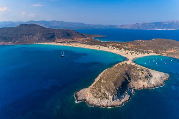 Aerial view of Simos beach in Elafonisos island in Greece.