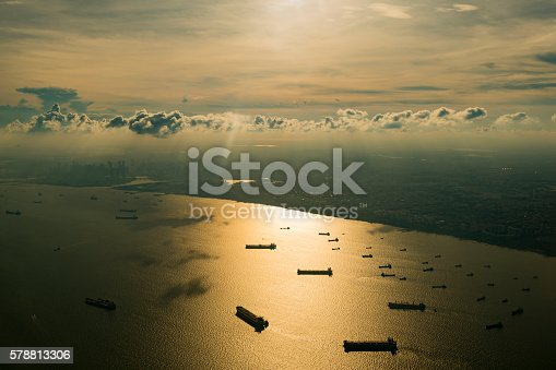 istock Aerial view of Singapore at sunset 578813306