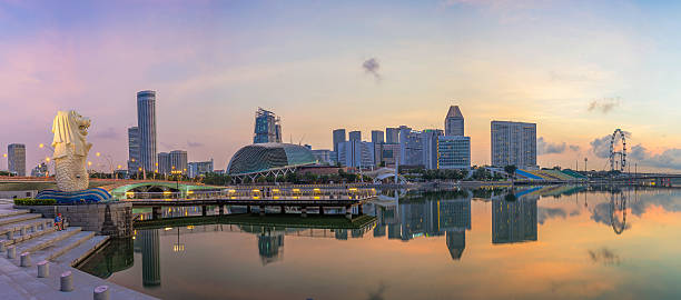 Aerial view of Singapore city skyline Singapore,Singapore – April 23 2016 : Aerial view of Singapore city skyline in sunrise or sunset at Marina Bay, Singapore esplanade theater stock pictures, royalty-free photos & images