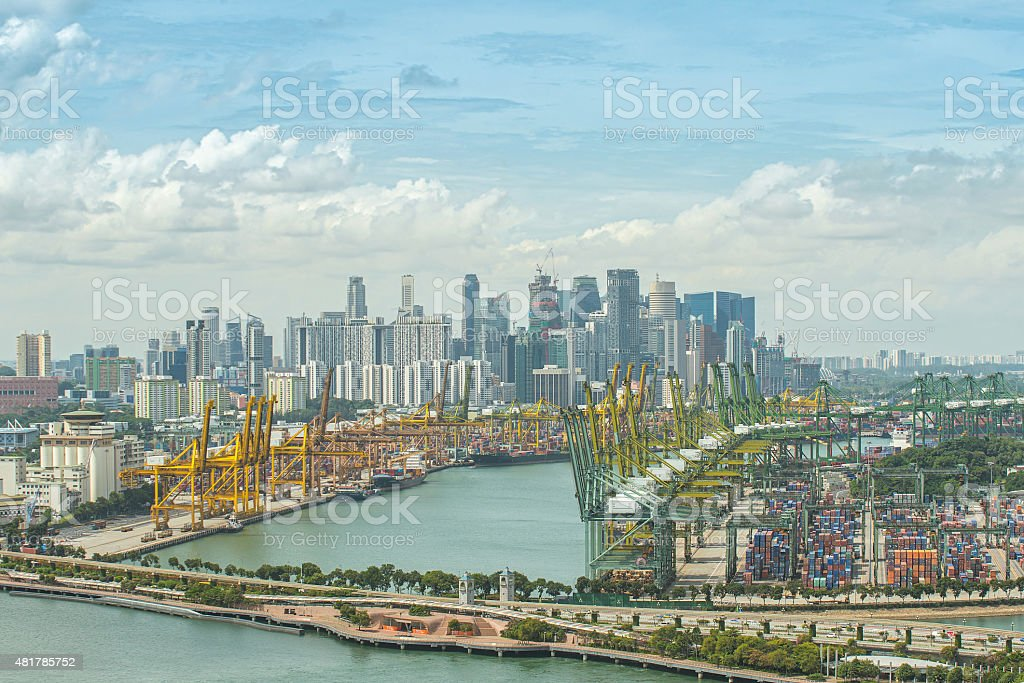 Aerial view of Singapore shipping port with Central Business Dis stock photo
