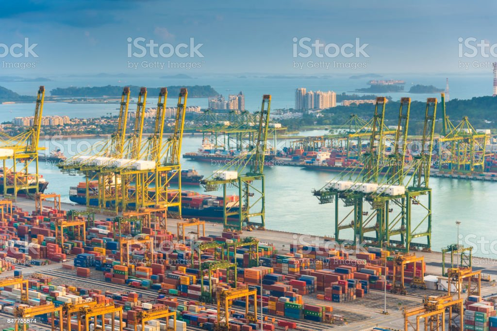 Aerial view of Singapore shipping port with Central city view stock photo