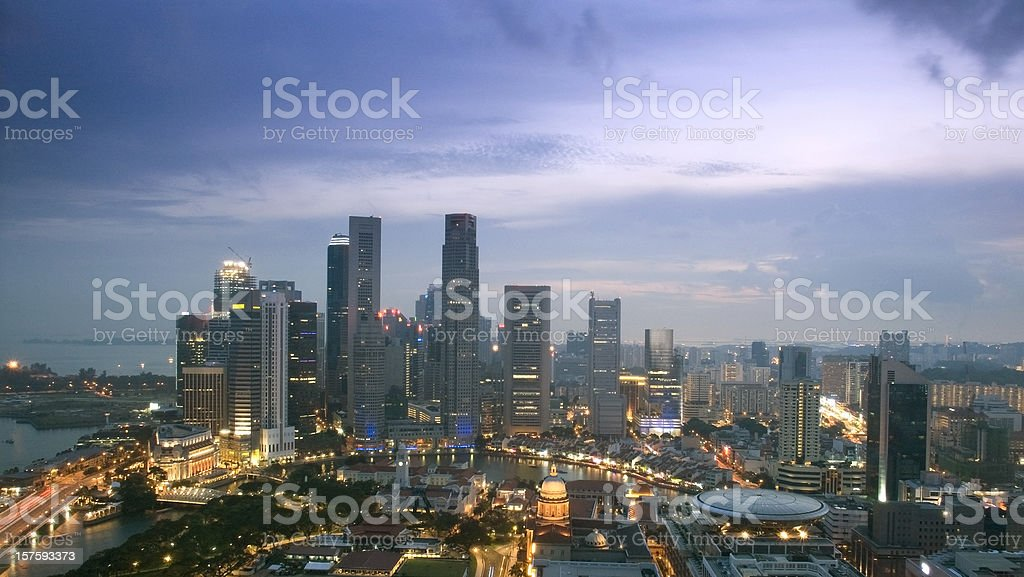 Aerial view of Singapore skyline at sunset royalty-free stock photo