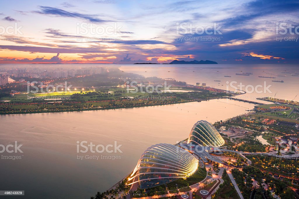 aerial view of Singapore with sunset stock photo
