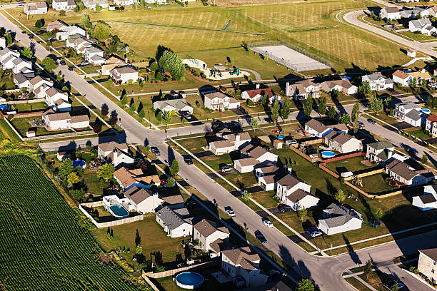 Aerial View of Single Family Homes in Northern Illinois stock photo
