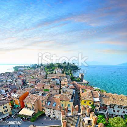 Aerial view of Sirmione on Lake Garda, Italy. Composite photo
