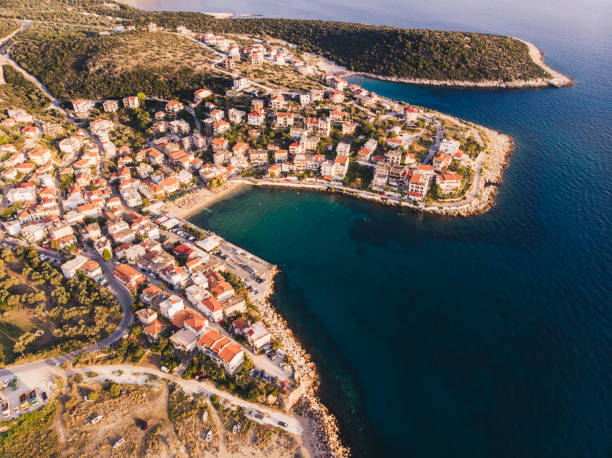 Aerial view of Skala Marion town in Thasos Island, Greece, at sunset stock photo