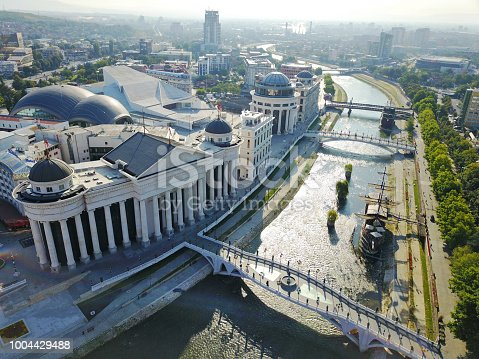 686175420 istock photo Aerial view of Skopje city. 1004429488