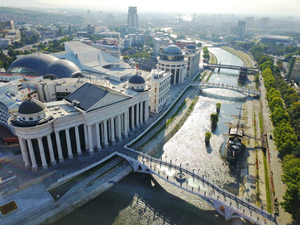 skopje şehrin havadan görünümü. - üsküp stok fotoğraflar ve resimler